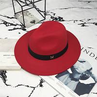 Женская фетровая шляпа Федора с устойчивыми полями и лентой красная