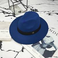 Женская фетровая шляпа Федора с устойчивыми полями и лентой синяя