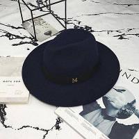 Женская фетровая  шляпа Федора с устойчивыми полями и лентой темно синяя