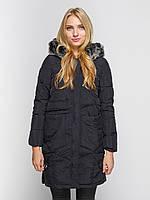 Куртка зимняя женская черная, длинный пуховик  СС-8471-10