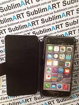 Чехол-книжка для 2D сублимации кожанный на Iphone 6 Plus черный, фото 2