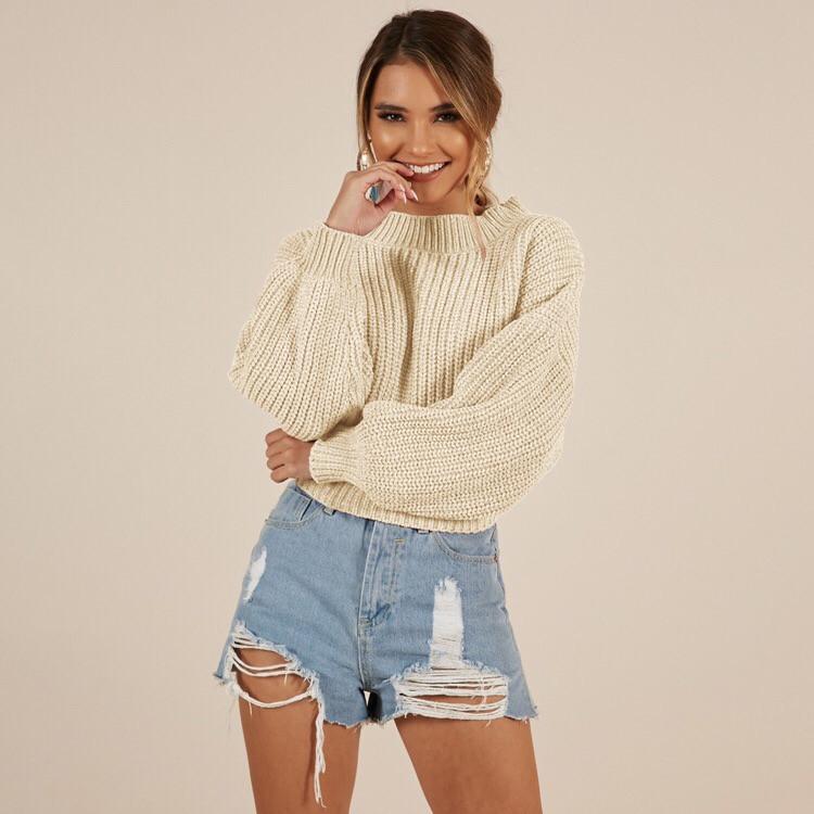 Женский свободный свитер с широкими рукавами 6504440