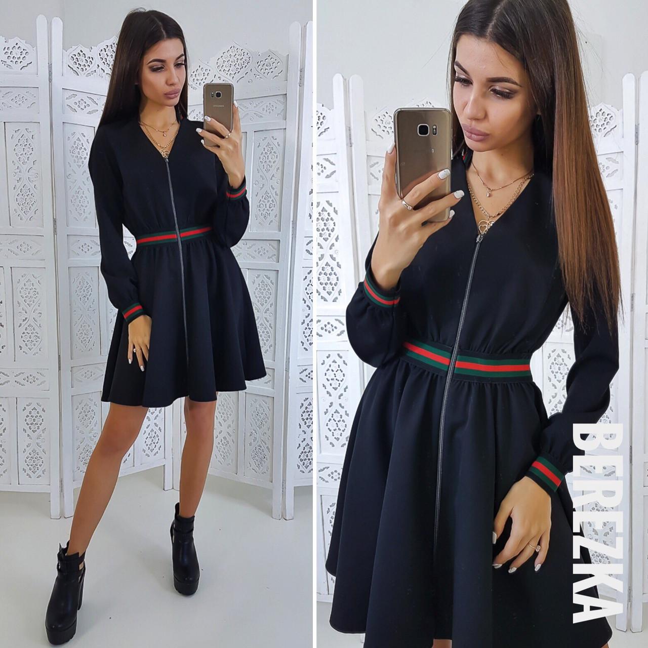 Платье с пышной юбкой на молнии спереди 66032023