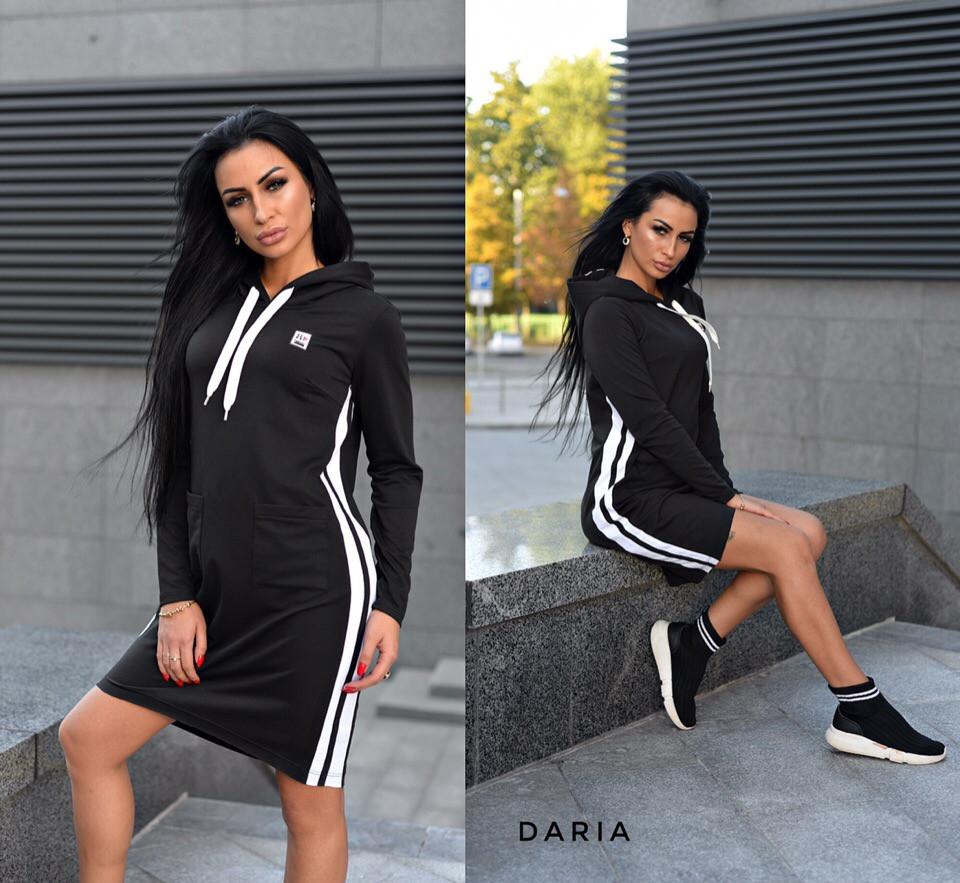 cb6ec90bbbe Спортивное платье худи с капюшоном и лампасами 55032028 - Интернет-магазин  одежды