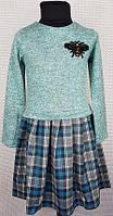 Детское платье в клеточку Лили 104-122, мята