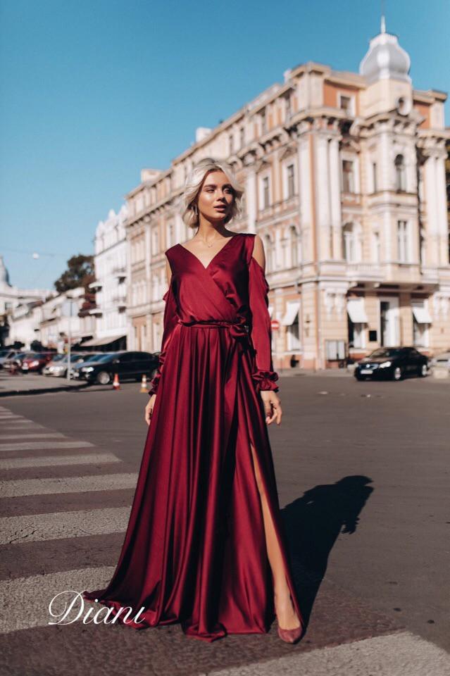 7ff45674da5 Шелковое длинное платье в пол с вырезом на спине 14032033 - Интернет-магазин  одежды