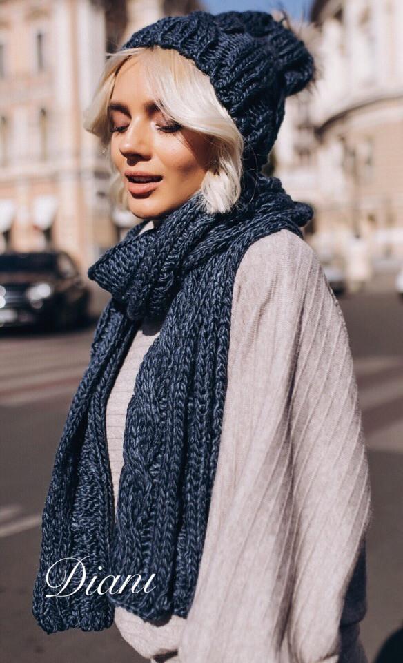 Женский набор шапка и шарф из полушерсти 1407155