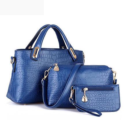 Практичный набор женских сумок 3в1 под крокодил, фото 2
