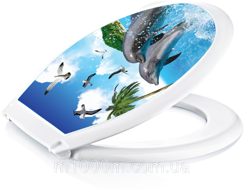 """Крышка для унитаза пластмассовая с рисунком """"Irak Plastik"""" BA-410, Турция"""