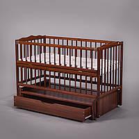 """Дитяче ліжечко Дубок """"Веселка"""" з відк.боковинкою та шухлядою,горіх."""