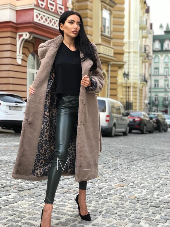 Женская шуба пальто из меха под кролика 582030
