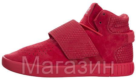 Женские кроссовки Adidas Tubular Invader Strap Red высокие Адидас Табулар красные, фото 2