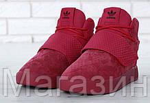 Женские кроссовки Adidas Tubular Invader Strap Red высокие Адидас Табулар красные, фото 3