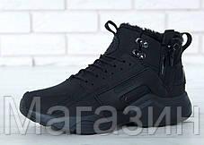 Мужские зимние кроссовки Nike Huarache ACRONYM City Winter Найк Аир Хуарачи Акроним С МЕХОМ черные, фото 2