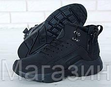 Мужские зимние кроссовки Nike Huarache ACRONYM City Winter Найк Аир Хуарачи Акроним С МЕХОМ черные, фото 3