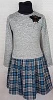 Детское платье в клеточку Лили 104-122, серый+синий