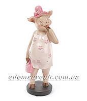 Статуэтка декоративная Свинка в розовом платье