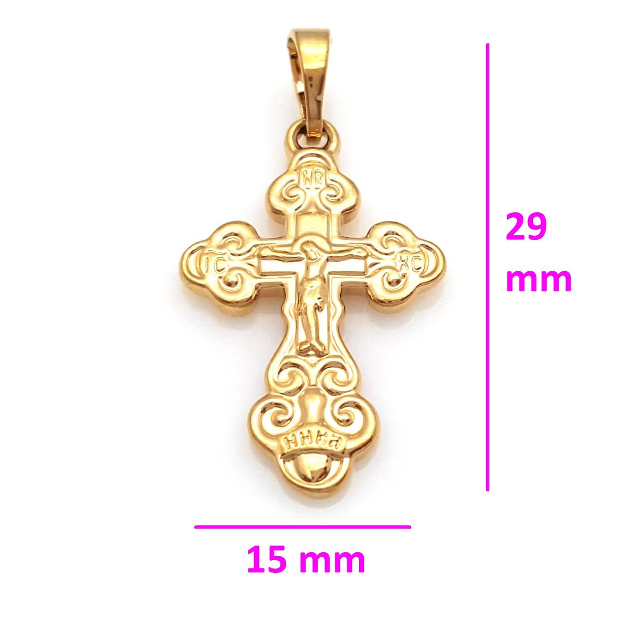 Крест с распятием, без камней, медицинское золото