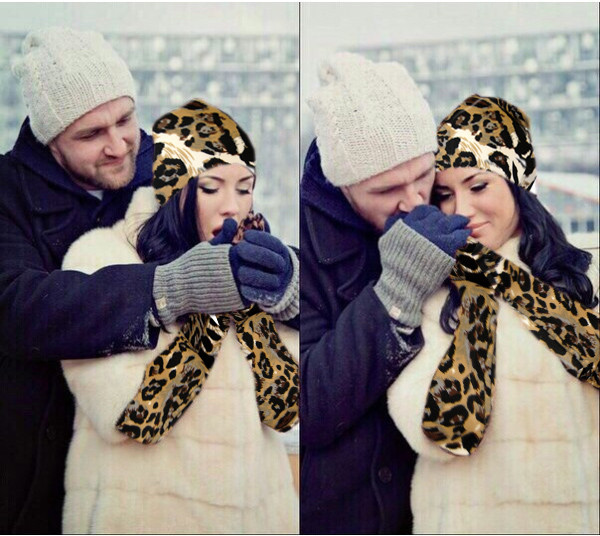 Набор шапка и митенки леопардовые