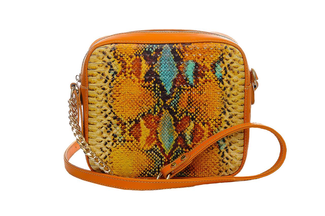 1396aba7c0a2 Яркая стильная женская сумка кроссбоди (через плече), итальянская кожа.  Оранжевый, рыжий цвет.