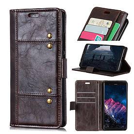 Чехол книжка для Huawei Mate 20 боковой с отсеком для визиток, Гладкая ретро кожа, коричневый