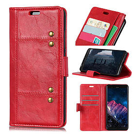 Чехол книжка для Huawei Mate 20 боковой с отсеком для визиток, Гладкая ретро кожа, красный