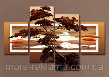 Модульная картина «Дерево на закате»