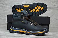 Зимние мужские кожаные ботинки Ecco черные с желтым топ реплика 692d3fd08f36e
