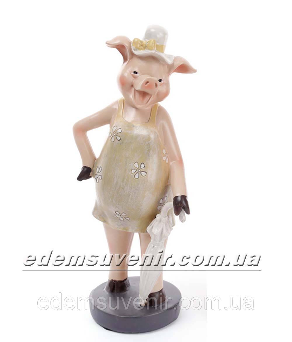 Статуэтка декоративная Свинка с зонтиком оливковое платье