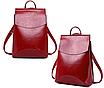Рюкзак женский кожзам трансформер classik glamur Красный, фото 2