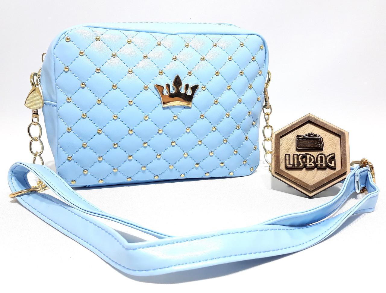 e674b7c1a7ee Маленькая, небольшая сумка через плечо Голубая с короной : продажа ...