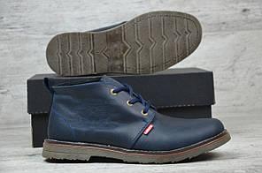 Мужские кожаные ботинки на меху Levi's синие топ реплика, фото 3