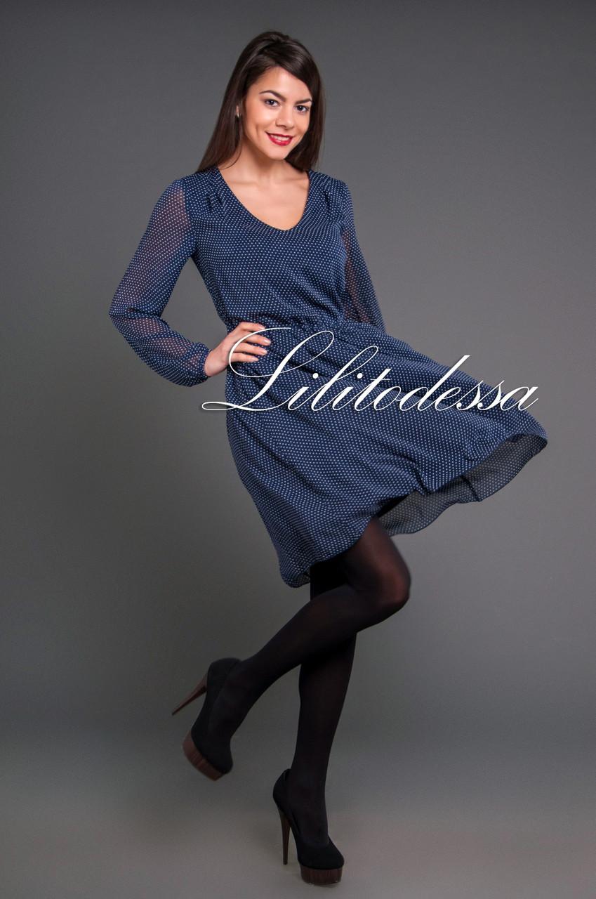 Платье шифоновое в горох темно-синий