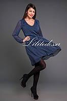 Платье шифоновое в горох темно-синий, фото 1