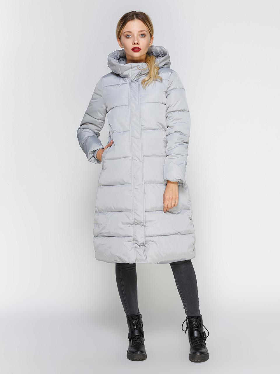 Куртка зимова жіноча сіра, довгий пуховик розмір 44 (XL) СС-8498-75