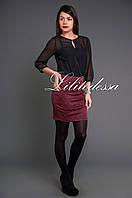 Платье комбинированное бордовый, фото 1