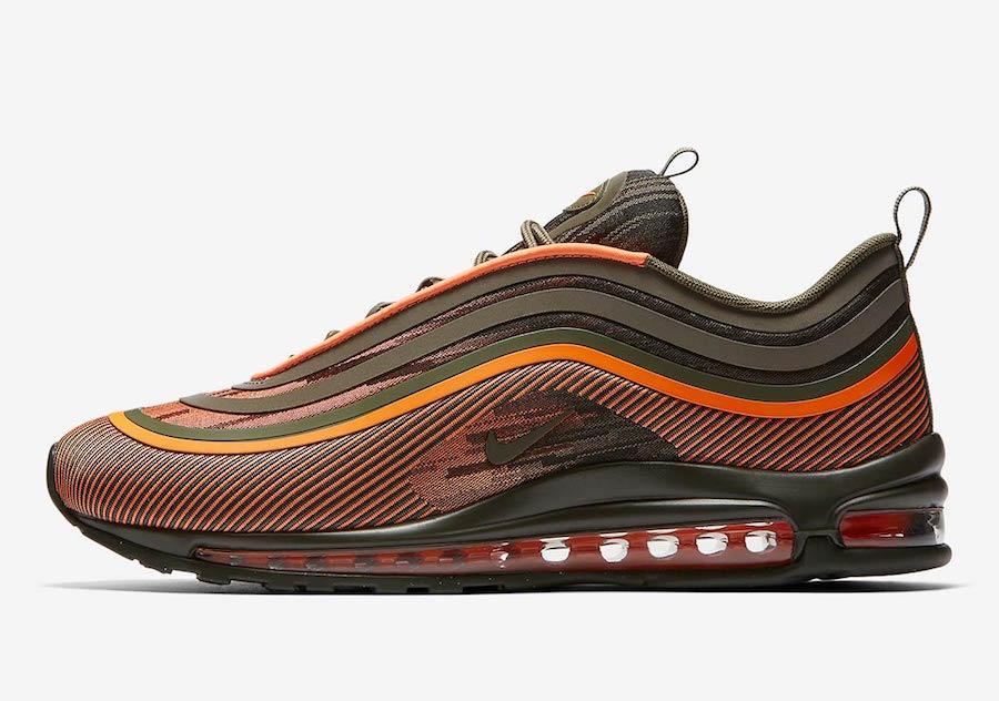 """Кроссовки Nike Air Max 97 Ultra 17 """"Olive/Orange"""" (Оливковые/Оранжевые)"""