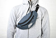 Молодежная сумка на пояс найк (Nike), текстиль реплика