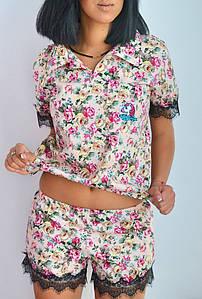 """Хлопковый женский комплект-пижама в цветочек """"Единорог"""" с маской и кружевом (2 цвета)"""