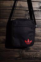 Тканевая мужская сумка через плечо/мессенджер/барсетка адидас/Adidas, черная