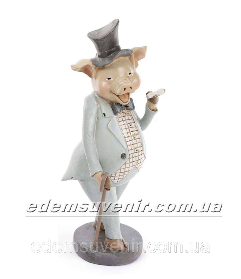 Статуэтка декоративная Свин с сигарой в бирюзовом фраке
