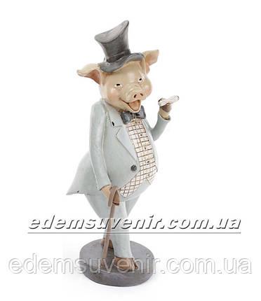 Статуэтка декоративная Свин с сигарой в бирюзовом фраке, фото 2