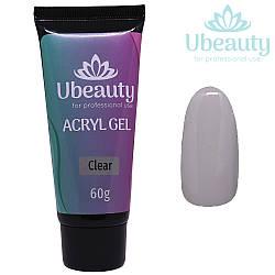 Акрилгель Ubeauty Clear / Прозрачный, Тюбик 60 мл (полигель, мультигель, комбигель)