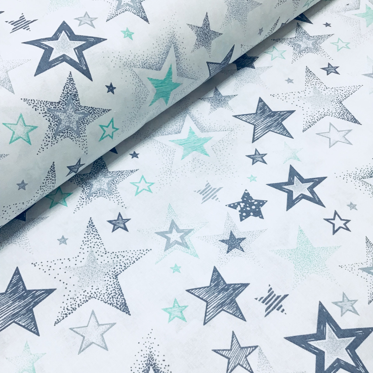 Ткань польская хлопковая, звездопад серо-мятный на белом