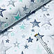 Ткань польская хлопковая, звездопад серо-мятный на белом, фото 2