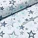 Ткань польская хлопковая, звездопад серо-мятный на белом, фото 3