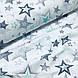 Ткань польская хлопковая, звездопад серо-мятный на белом, фото 4