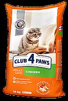 Сухой корм Клуб 4 Лапы Premium для кошек и котов, с курицей 14КГ