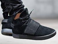 """Кроссовки мужские замшевые высокие Adidas Tubular Invader Strap Black """"Черные"""" р. 40-45, фото 1"""