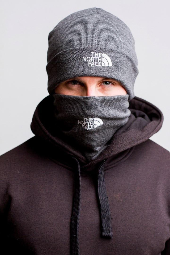 Комплект мужской серый шапка и бафф The North Face - Winter 2019